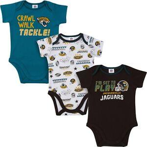Jacksonville Jaguars Baby Onesie Bodysuit 3 Pk - Gerber NFL Newborn 3-6m