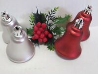 Shatterproof Christmas Ornament Gold BELLS Lot of 4 RED SILVER