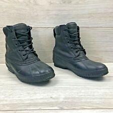 SOREL Mens Cheyanne II Waterproof Black Boots Duck Rain Boots Lace Up Size 8