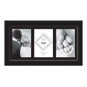 """Black Photo Frame 3 Aperture 4""""x 6"""" Glass Front Portrait Triple Photos Pictures"""