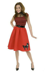 Red Striped Sequin Poodle Dress 50's Adult Costume