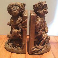 Pair of Rare Vintage JARU Monkey Bookends Dated 1974