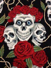 AH56 Rose Tattoo Rare Skull Rose Blue Eyes Grateful Dead Cotton Quilt Fabric