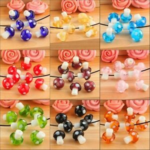 Cute Style Colorful Lampwork Mushroom Glass Spacer Loose Beads Charm Findings