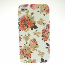 White with Rose Flower Print Hard Back Case Cover for iPhone 4 / 4S and Film