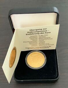 Gold 100 Euro Goldmünze  2002 G. 9.5.2002 9.Mai Zertifikat