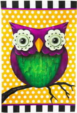 Whimsy Owl 29 X 43 Large Flag Garden Polka Dot Purple Decor Evergreen