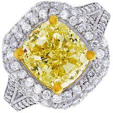 Fancy Yellow 4.50 Carat GIA Cushion Cut Diamond Engagement Ring 18k White Gold