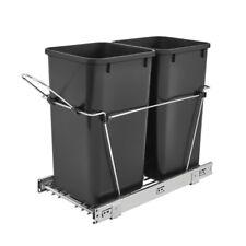 Rev-A-Shelf Double 27 Quart Pullout Waste Bin Container, Black (Open Box)