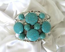 Silver-Tone with a Cluster of Turquoise Beads Wide Cuff  Bracelet.  NWT