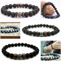 Men Women 8MM Natural Lava Rock Stone Yoga Beads Bracelet Boyfriend Gift Jewelry
