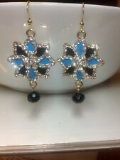 Light Gold Plated Blue And Black Crystal Bridal Earrings Wedding Bridesmaids