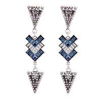 Boucles d'Oreilles Clous Argenté Art Deco Triangle Long Bleu Retro Mariage XX15