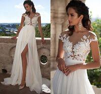 New Cheap White/Ivory Chiffon Wedding Dress Bridal Gown Beach Boho Size 2-16