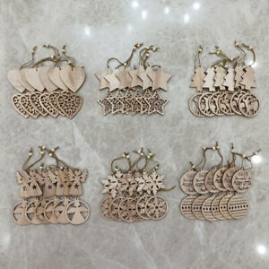 12PCS Christmas Tree Decorations Wooden Shapes Ornaments Craft Xmas Gifts