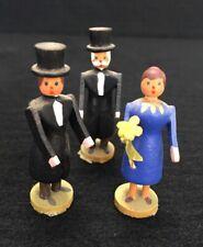 Holz Figuren Brautpaar Erzgebirge Puppenstube Zubehör Alt Rarität Hochzeit