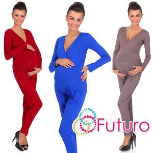 Ladies Maternity Wrap Jumpsuit With Pockets V Neck Playsuit Sizes 8-18 FM16