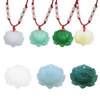 Natürliche Jade Lotus Anhänger Halskette Mode Glücksbringer Männer & Frauen`