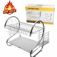 2 Layer Kitchen Dish Drainer Dry Rack Plate Cutlery Sink Tool Holder Storage