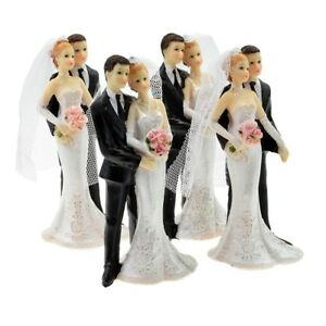 Set of 4 Bride and Groom with Flowers Cake Topper - Pack of 4 Cake Toppers