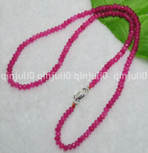 """2x4mm Rose Ruby Faceted Roundel Gems Beads Necklace Silver Clasp 18"""" JN700"""