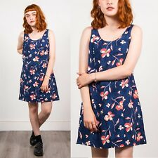90'S FLORAL PATTERN WOMENS VINTAGE DRESS NAVY BLUE CORAL SUMMER STRAPPY DRESS 16
