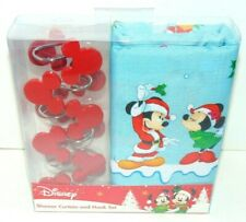 NEW DISNEY MICKEY MOUSE HOLIDAY CHRISTMAS FABRIC SHOWER CURTAIN WITH HOOKS