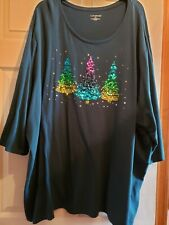 5X CATHERINES Women's Dk Teal/Sequins Xmas Trees Blouse/Top~Size 3/4 Sleeves, EC