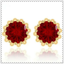 Solitaire 18k Gold GF Red Ruby Round Cut Crystals 2.5ct Big Stud Earrings 13MM