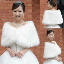 White Trendy Faux Fur Ivory Wedding Bridal Shawl/Wrap Stole Shrug Cape P007