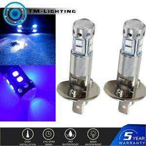 2x H1 10000K Deep Blue 100W  LED Headlight Bulbs Kit Fog Driving Light New
