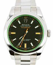 MINT 2011 Rolex Milgauss Green Black Orange 116400 GV V 40mm Stainless Watch