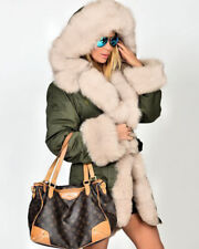 2016 Women Ladies Winter Long Warm Thick Parka Faux Fur Jacket Hooded Coat 8-20 Green 12