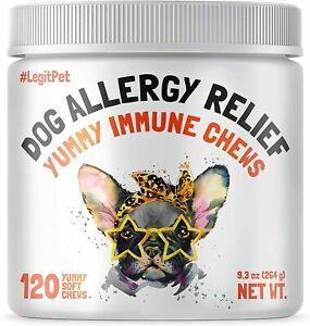 LEGITPET Dogs Allergy Relief Chews Kelp, Colostrum & Bee Pollen 120 Chews- USA