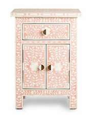 Wooden handmade bone inlay ice pink floral bedside table and nightstand