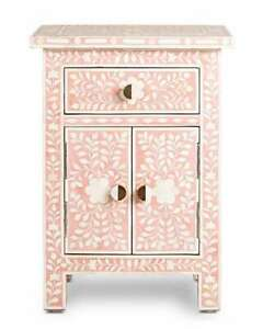 Wooden handmade bone inlay pink floral bedside table and nightstand