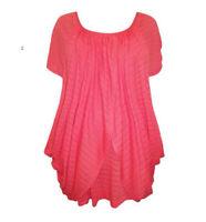 Marina Kaneva Plus 20/24 Pink Coral Pointelle Layered Tulip WrapOver Top Tunic