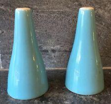 Vintage Ceramic Pottery Blue Shaker Set MID CENTURY MCM UNIQUE SHAPE MOD RETRO