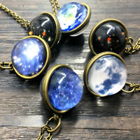Solar System Double Side Glass Dome Ball Universe Galaxy Planet Pendant Necklace