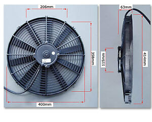"""PWR 16"""" SPAL Thermo Fan Straight Blade Pusher 1505cfm PWAC16STP"""