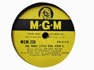 DWIGHT WEIST - The Three Little Pigs 78 rpm disc (A++)