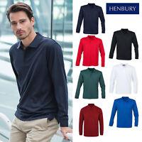 Henbury Unisex Long Sleeve Coolplus Polo Shirt H478-Adults Casual Plain T-Shirt