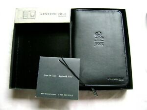 NWT Kenneth Cole Leather Zip Close Travel Passport Holder Wallet - Black