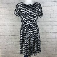 J. Crew Women's Size 2 Fit & Flare Dress Floral Navy Blue White