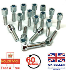 16 x alloy wheel tuner bolts M12 x 1.5 extended thread 40mm + key - Peugeot 108