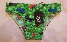 TIKI Brief Trunks Slip Range Verde Swimwear Green Frog Print Age 10 made in ital