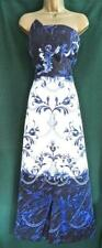 New TED BAKER 10/TB2 PERSIAN BLUE White Satin Baroque Strapless Maxi Prom Dress