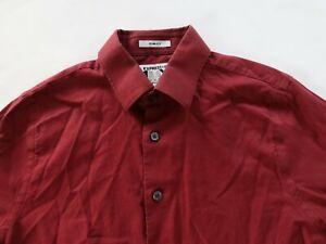Express 1MX Mens Stretch Slim Fit LS Button Up Maroon Dress Shirt Small 14-14.5