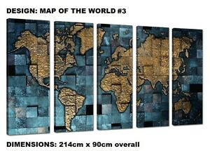 MAP OF THE WORLD- EXTRA LARGE SPLIT FRAMED CANVAS PRINTS ! Modern Exclusive Art
