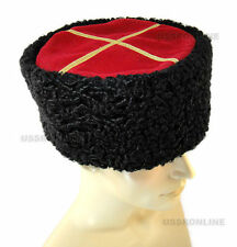 Russian Black Papaha Sheepskin Astrakhan Fur Hat KUBANKA Kuban Cossack Papakha